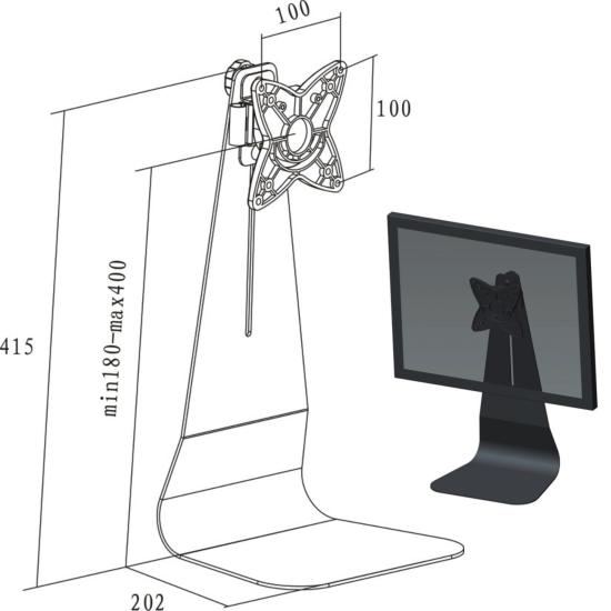 Monitor bureauvoet - hoogteverstelling/kantelen/zwenken/roteren - zwart